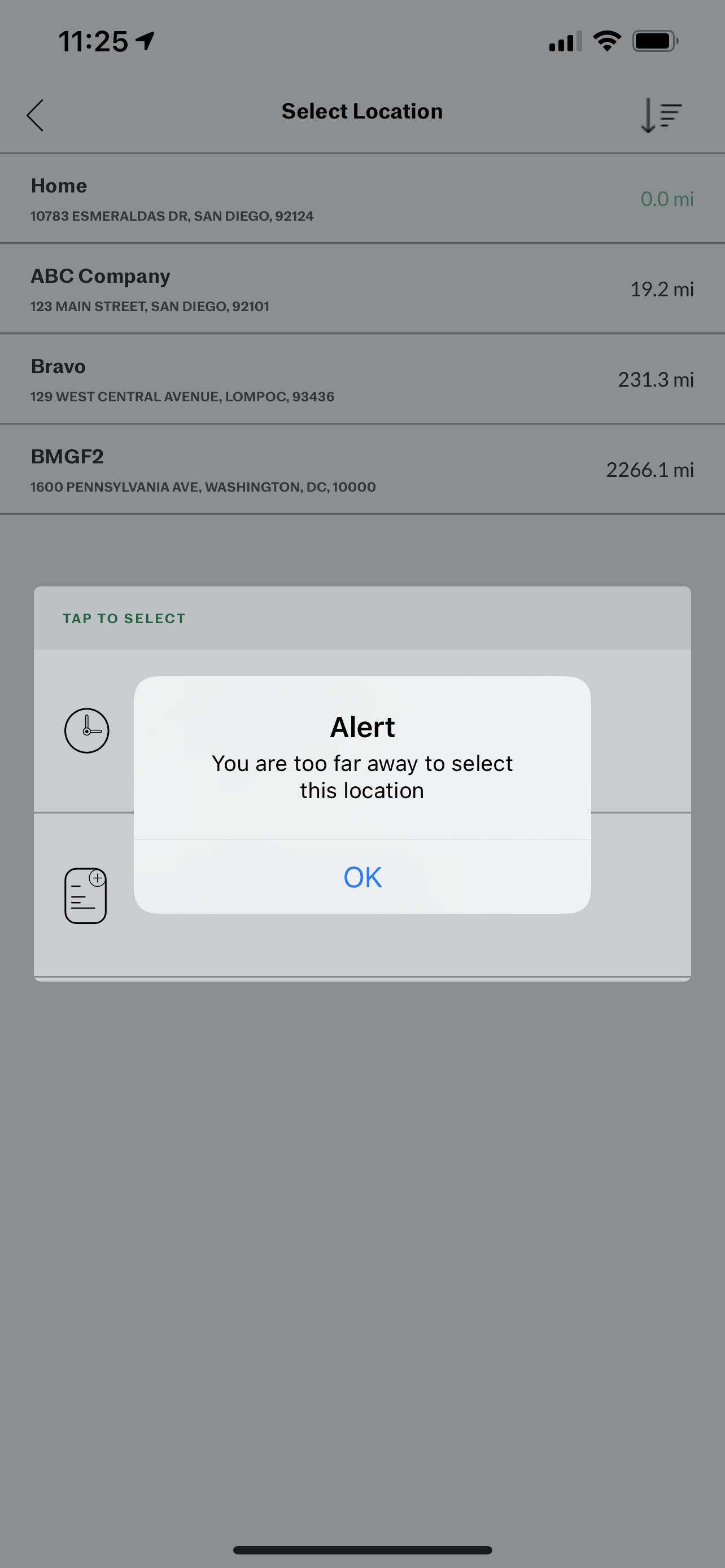Screenshot showing the error message that will appear on an employee's screen if an employee tries to check into a shift outside the geofence's specified radius