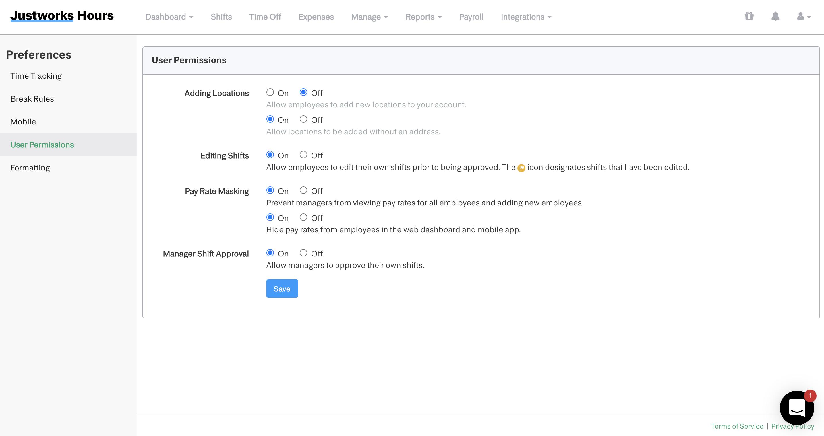 Screenshot showing the 'User Permissions' tab