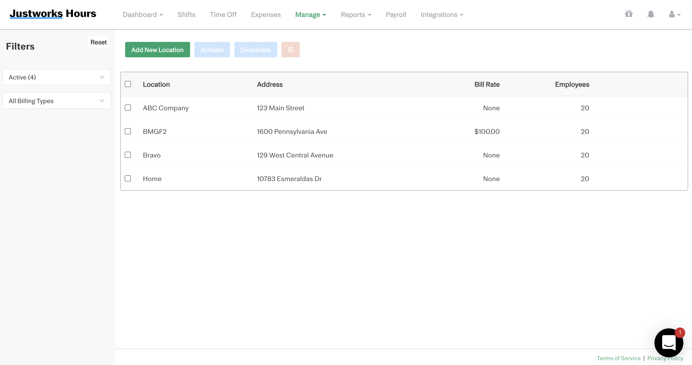 Screenshot showing the 'Add New Location' dashboard