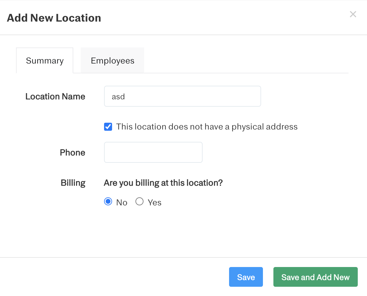 Screenshot showing how to toggle on the checkbox for 'This location does not have a physical address'