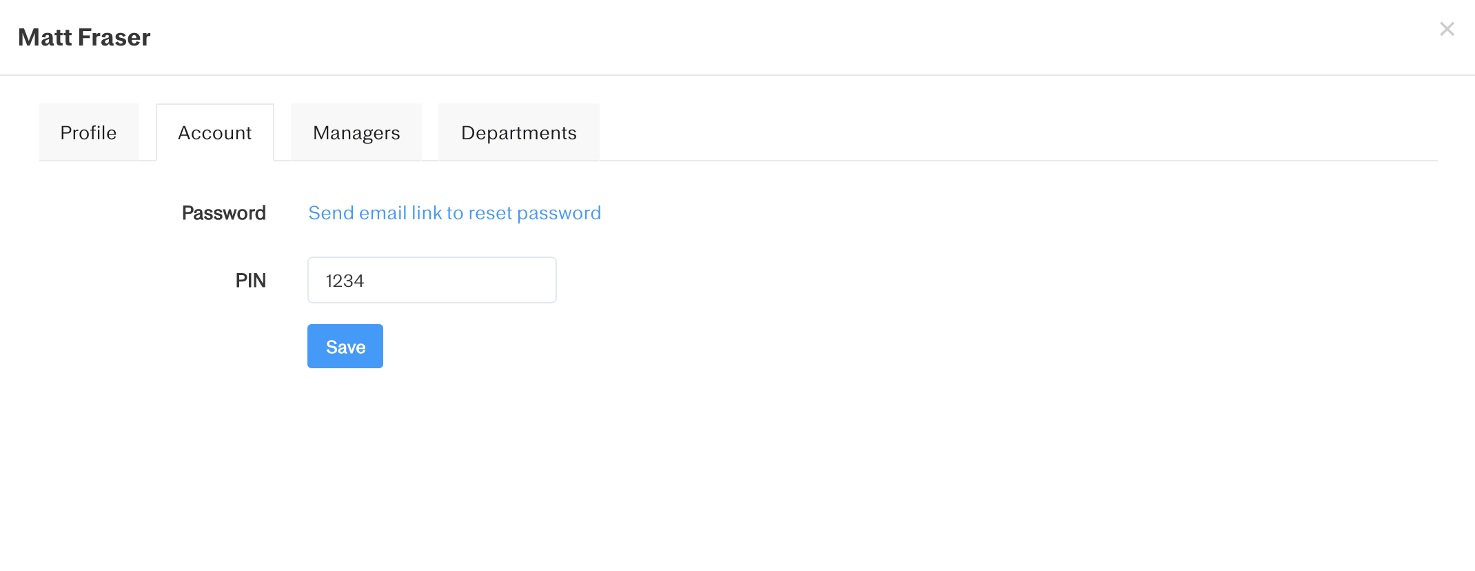 Screenshot showing where an employee may change their PIN within the 'Account' tab of their profile