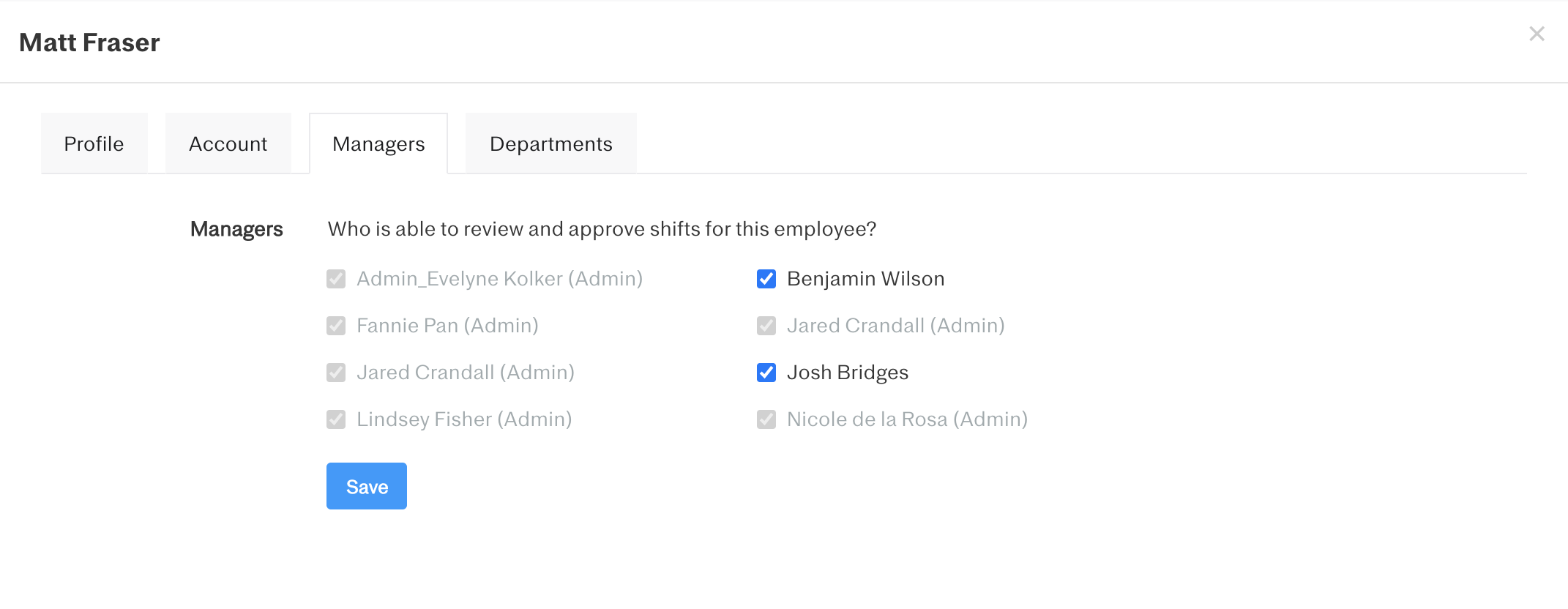 Screenshot showing how to select who can review and approve shifts for an employee