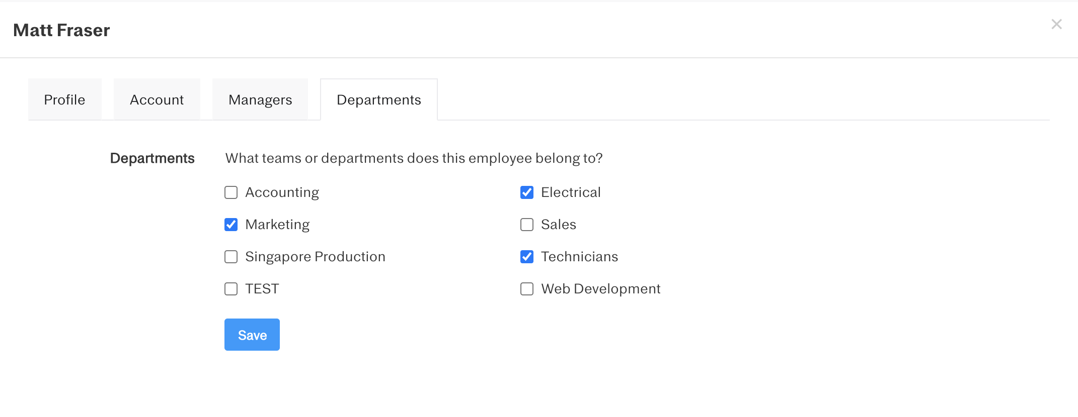 Screenshot showing how to select departments in an employee profile