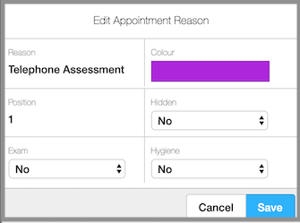 edit appointment reason