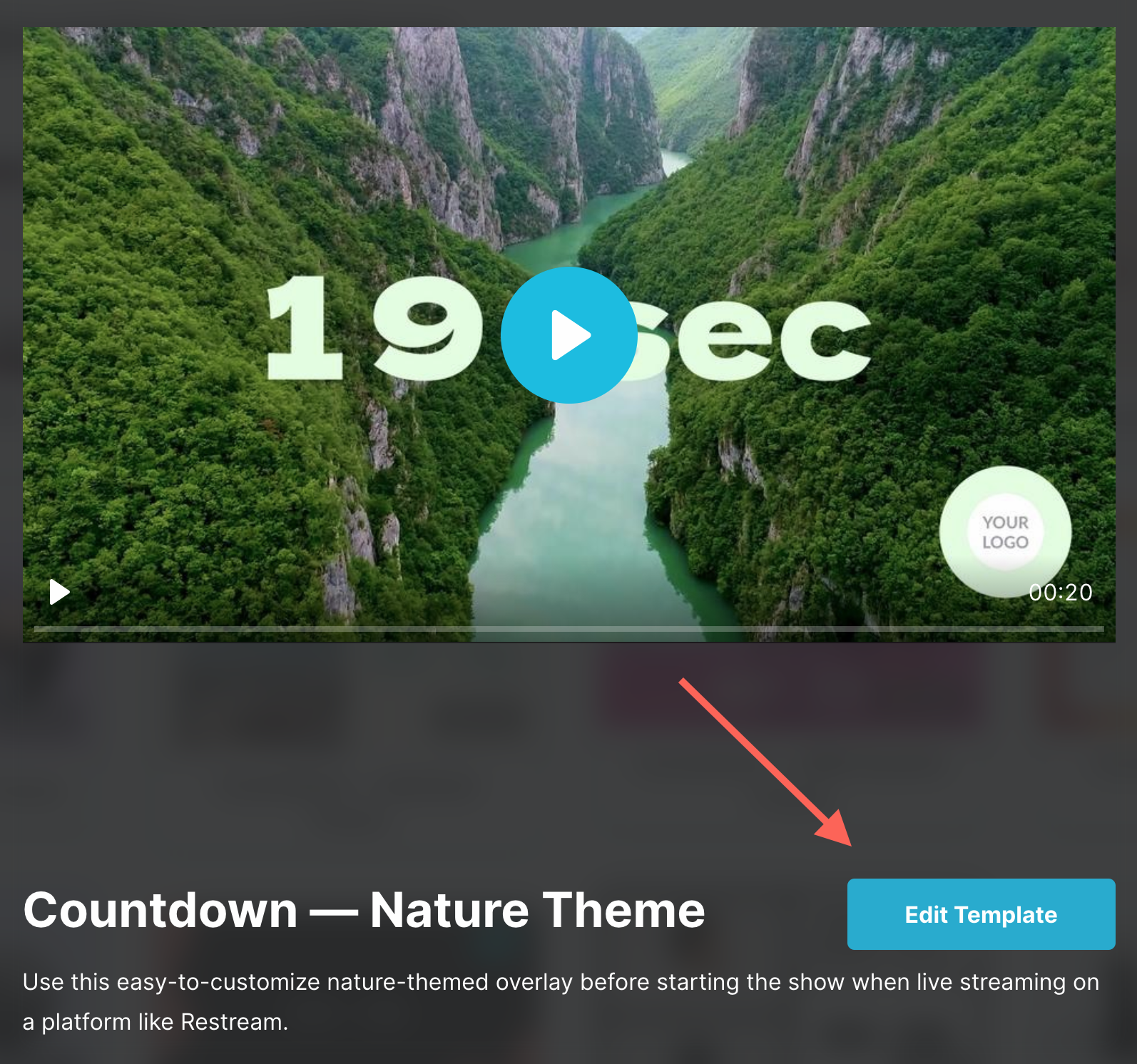 Select a countdown timer template