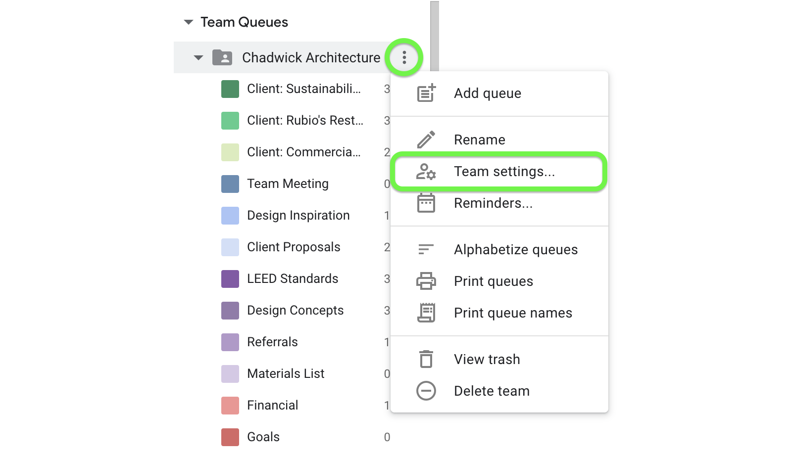 Complete team setup from Team Settings.