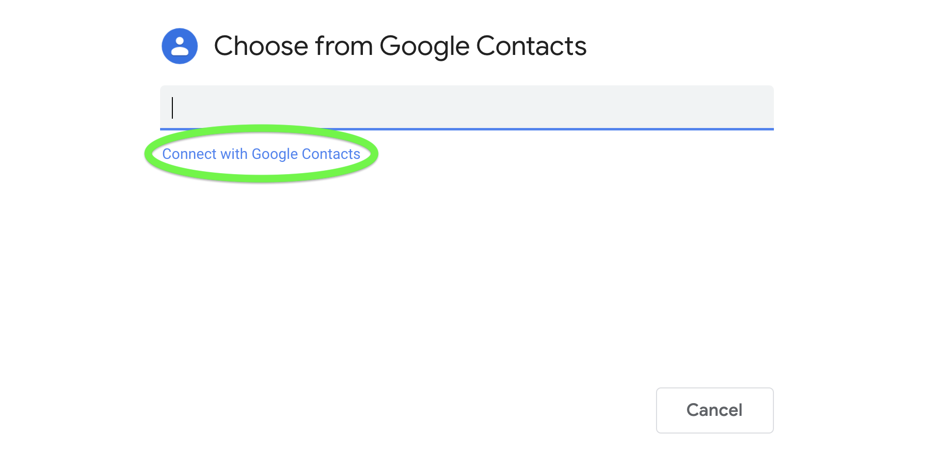 Choose from Google Contacts window