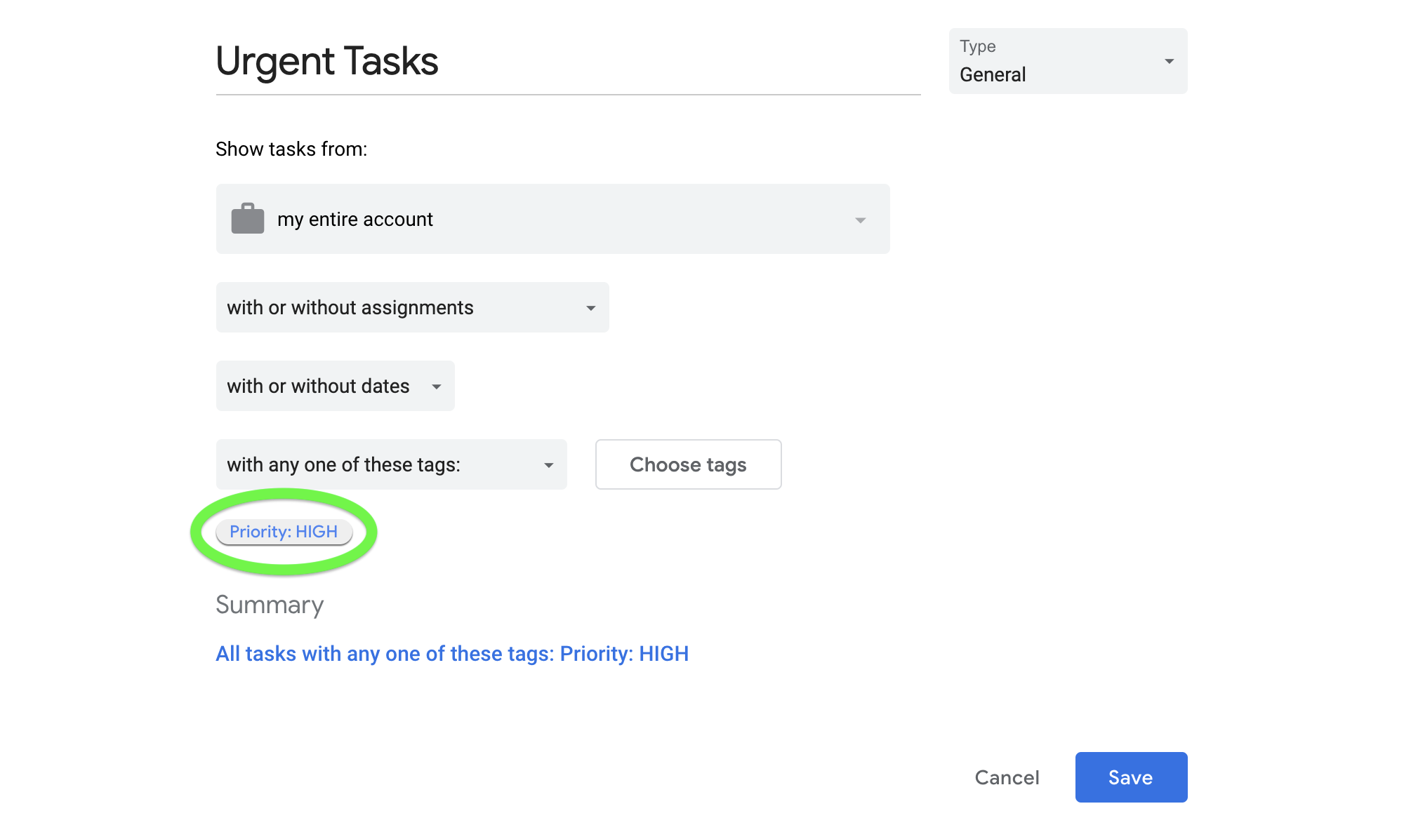 Smart Queue set up to search for tasks with the tag Priority: HIGH