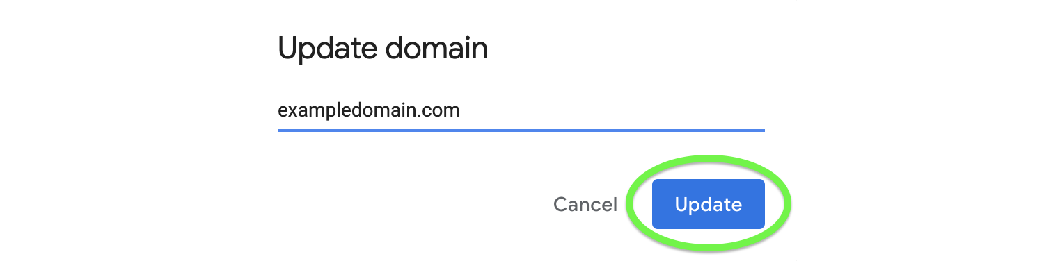 Click Update to confirm your domain name change