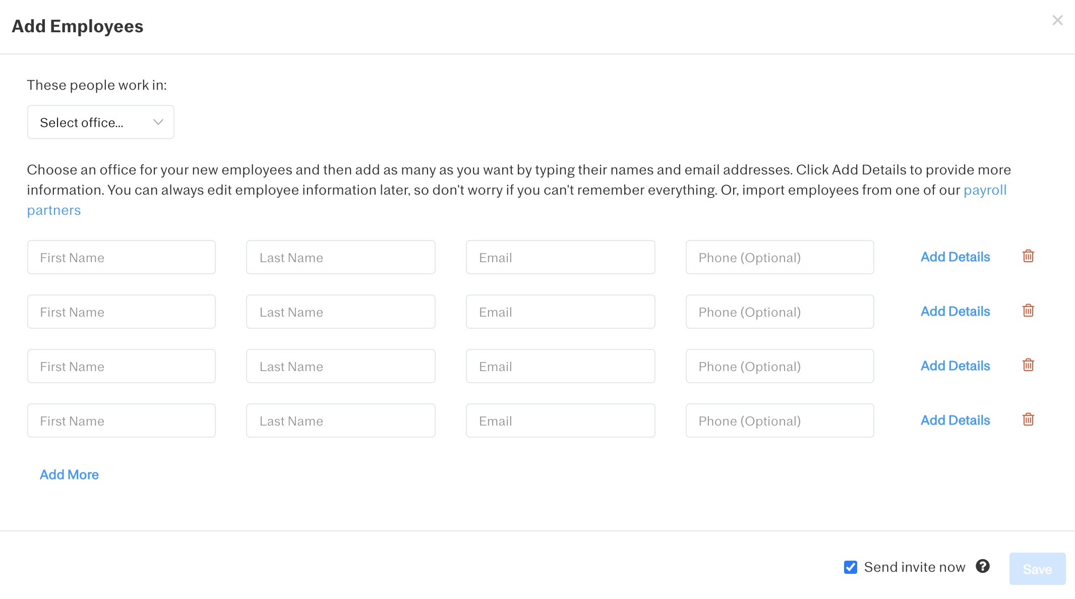 Screenshot showing how to add a new employee