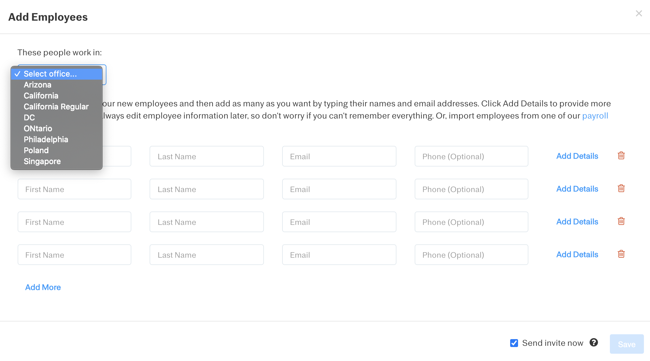 Screenshot showing how to select an office for the employees you wish to add