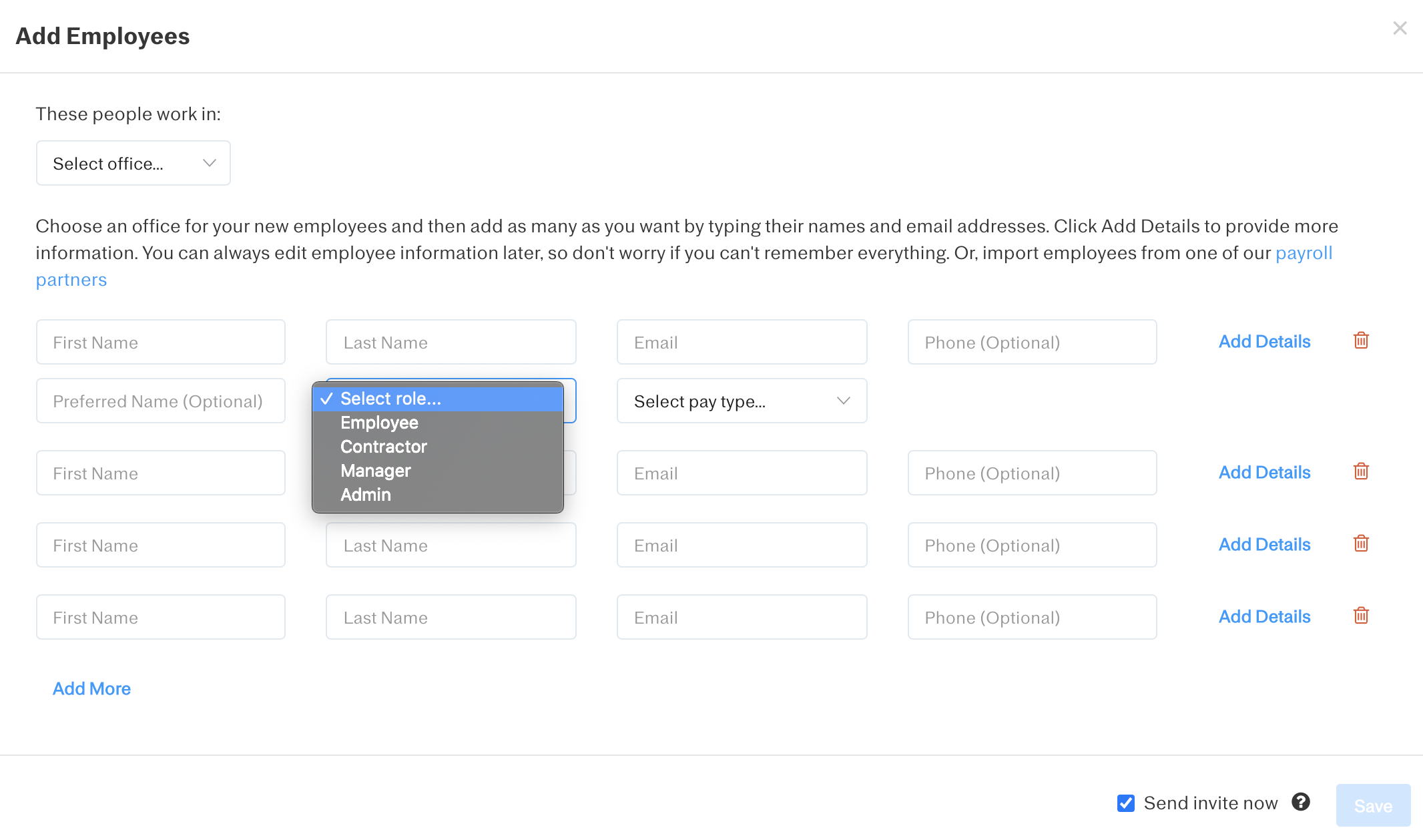 Screenshot showing the 'Add Employee' screen and role selector