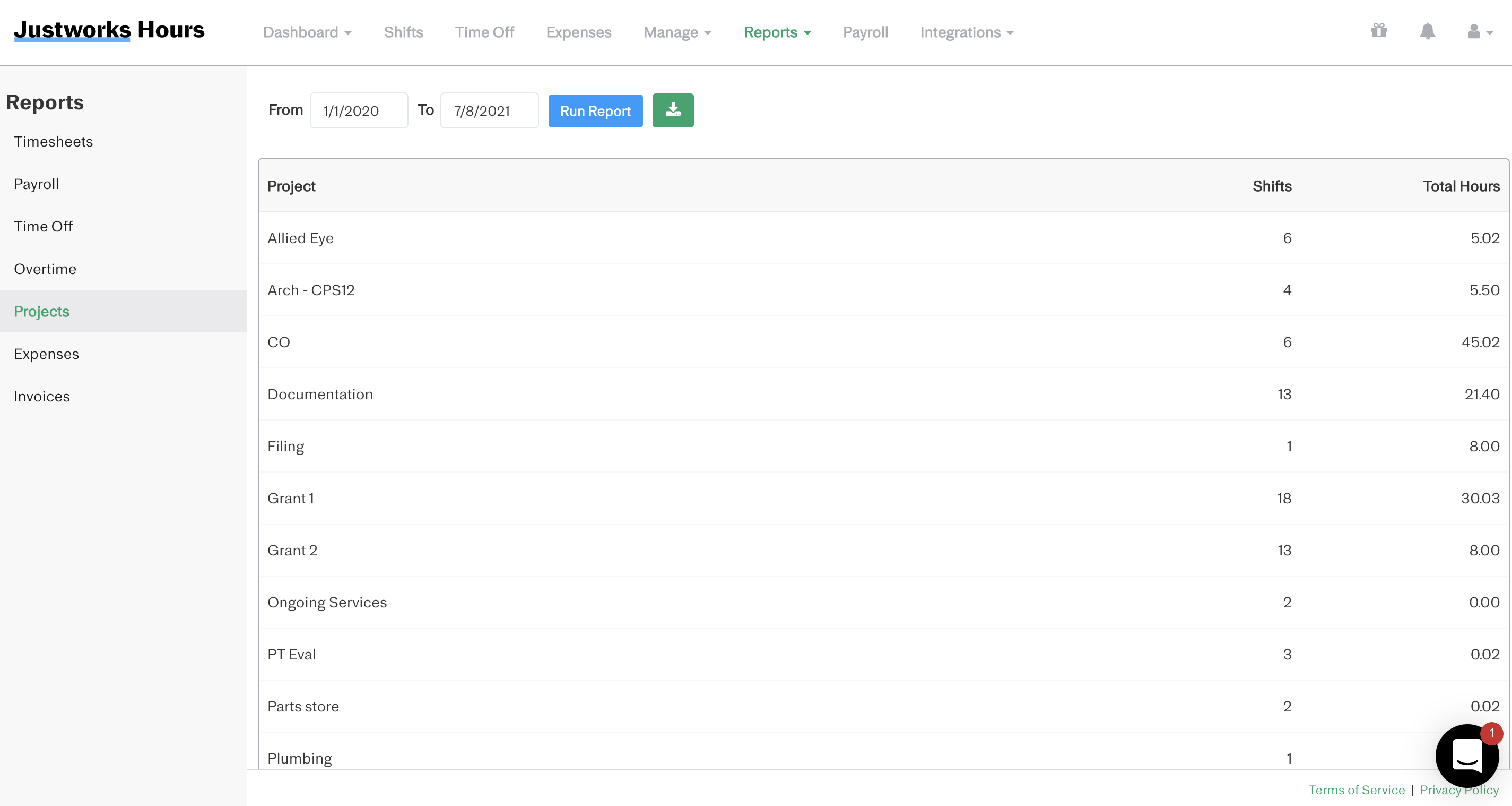 Screenshot showing how to run a project report