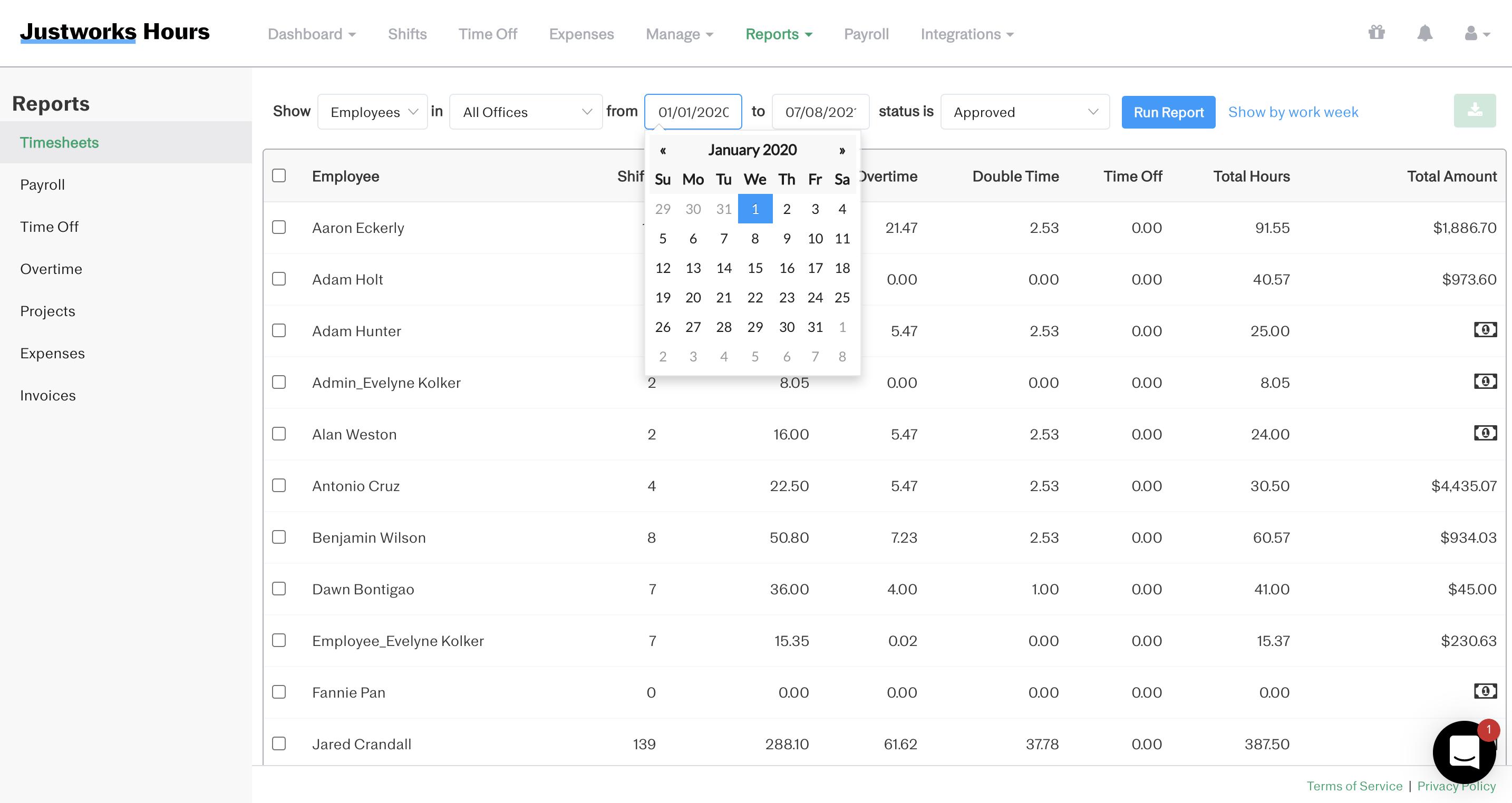 Screenshot showing how to run the time sheet report for custom date range