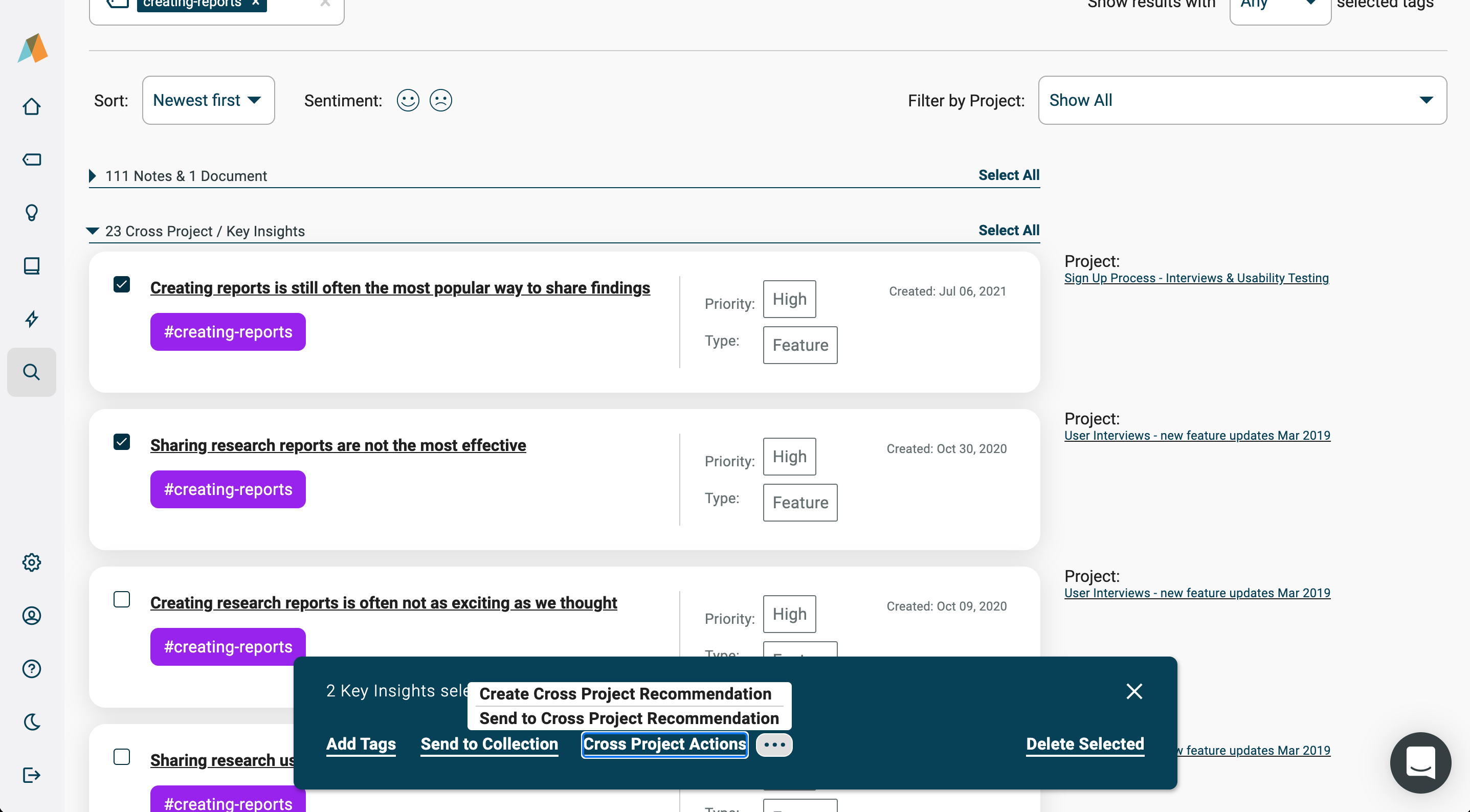 Creating Cross Project Recommendations from the Universal Search results page