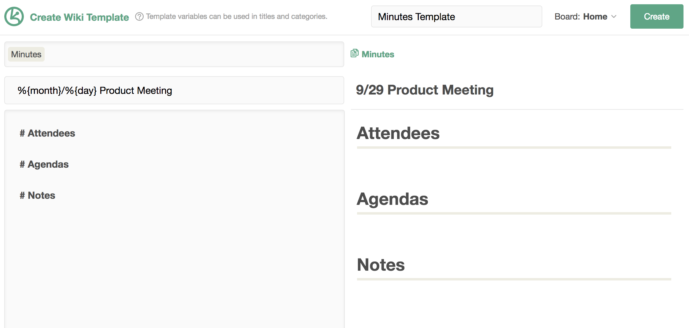 Wiki templates kibela docs create your template fill in the contents and use variables to automatically input data maxwellsz