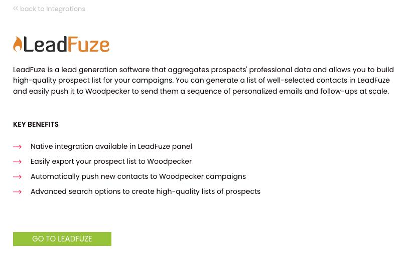 Description of the LeadFuze integration in Woodpecker