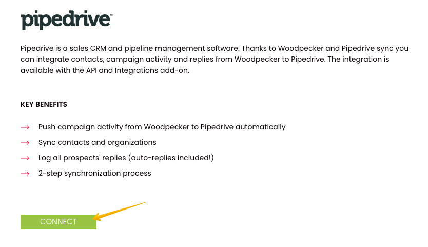 Description of the Pipedrive integration with Woodpecker