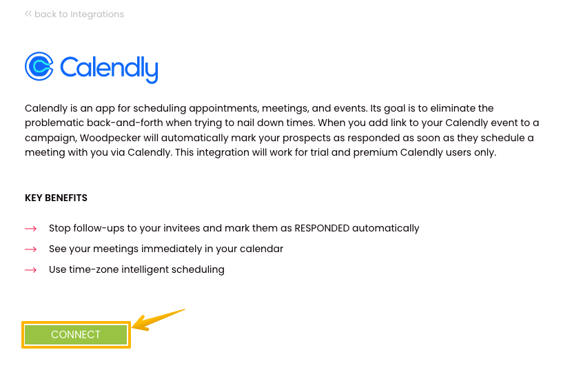 Description of the Calendly integration with Woodpecker