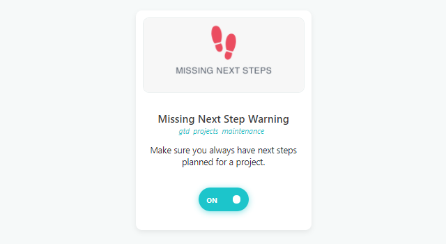 Missing Next Steps strategy card