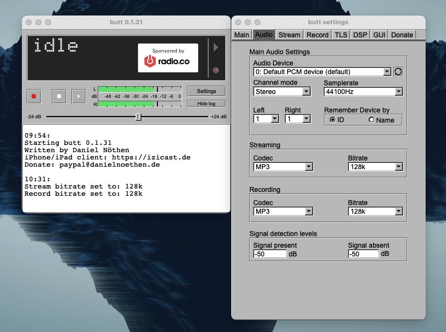 Audio settings in BUTT.