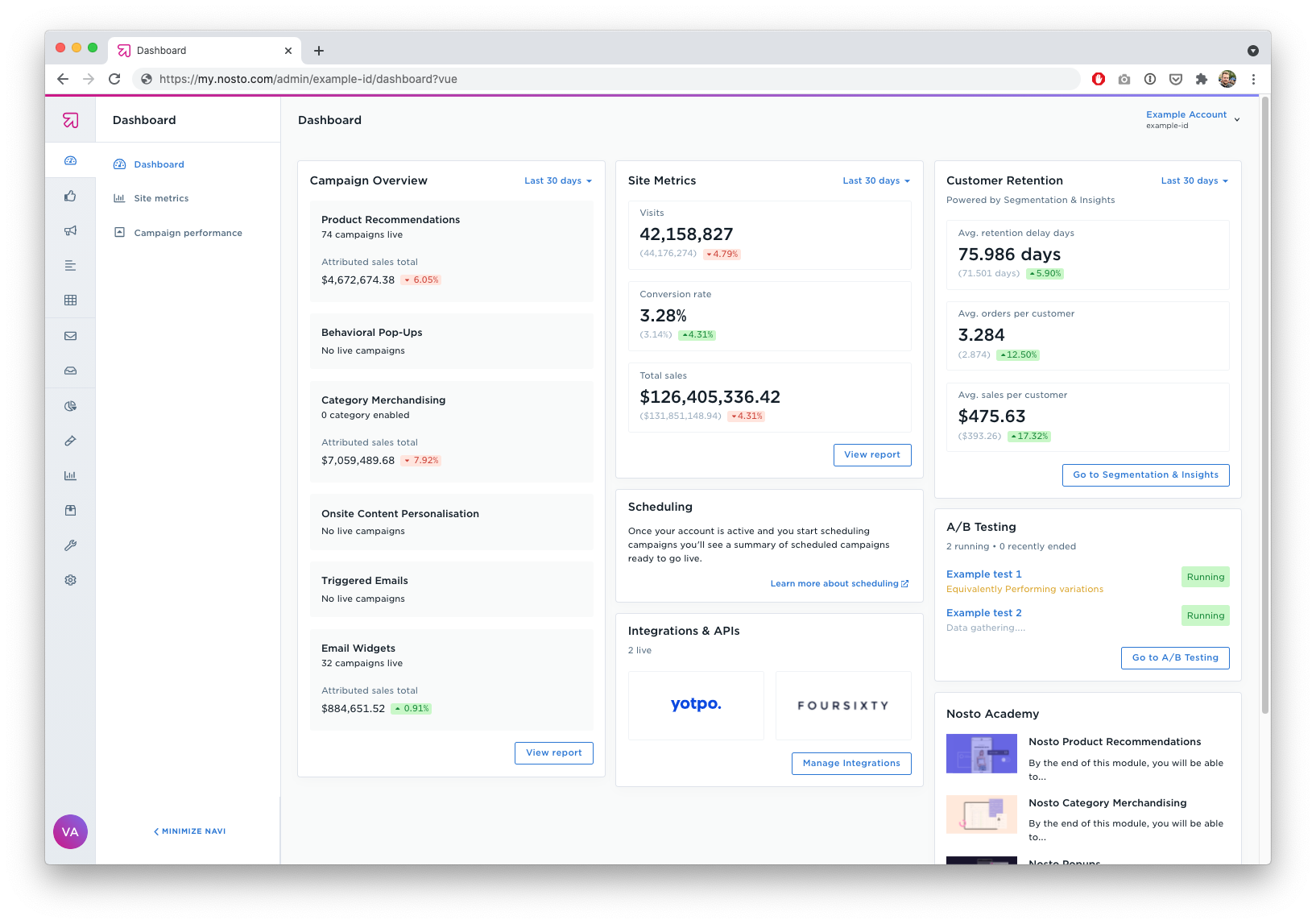Main dashboard view, at a glance information