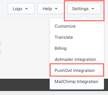 Example of PushOwl Integration being visible on App Partner's Dashboard