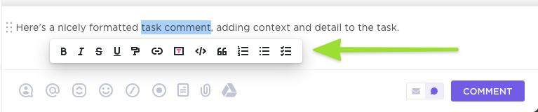 Task comment with selected text, showing the formatting options available.