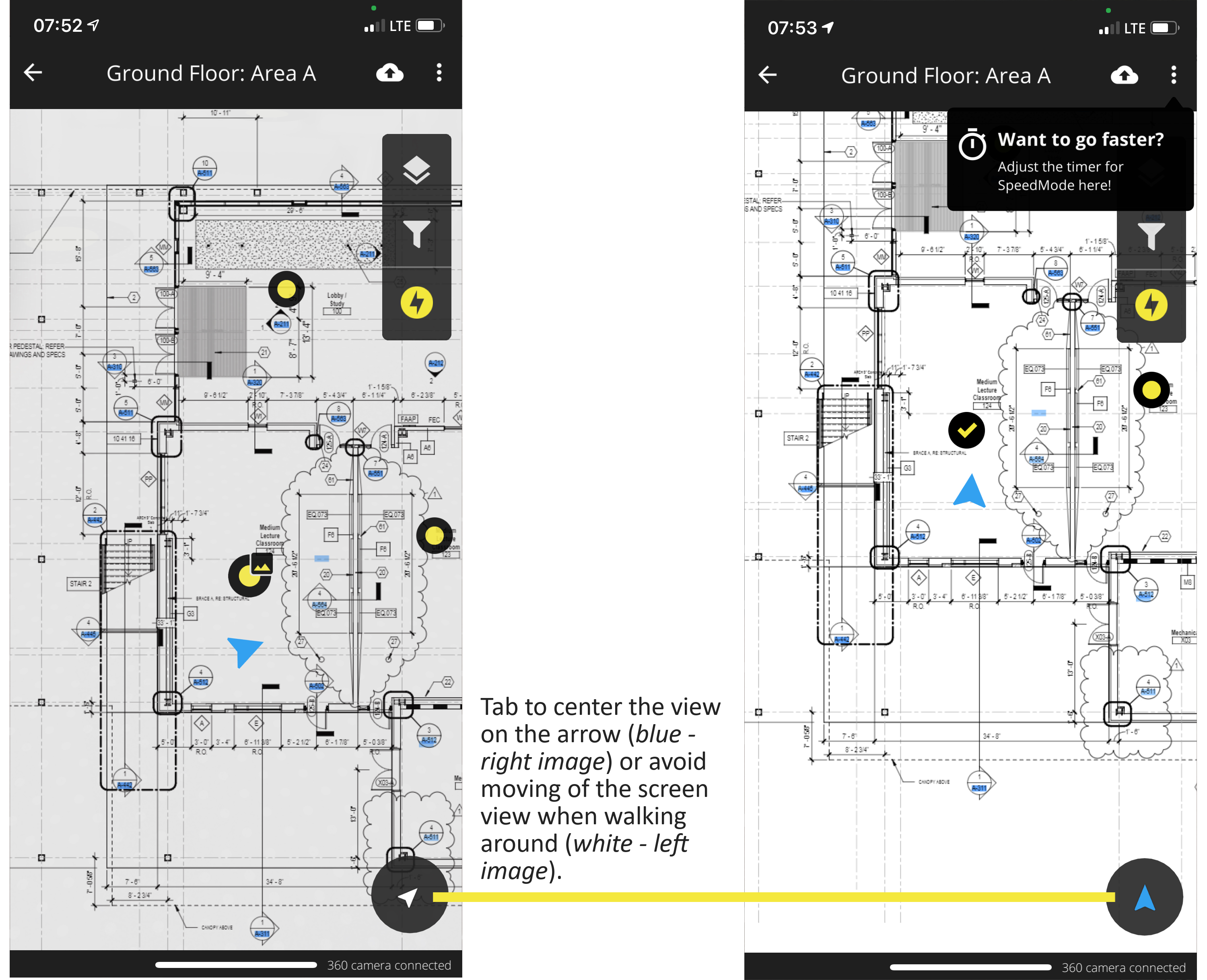 How to center the position arrow to the screen view in the HoloBuilder JobWalk app with SpeedMode