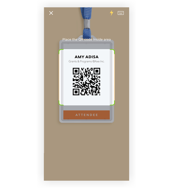 Screenshot of the qr scan screen from the Lead Retrieval app.