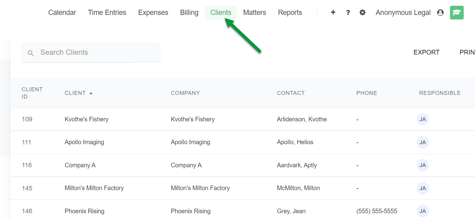 A screenshot of the Clients page with the Clients button indicated.