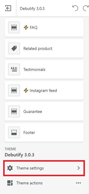 Select theme settings