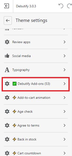 Select Debutify add-ons