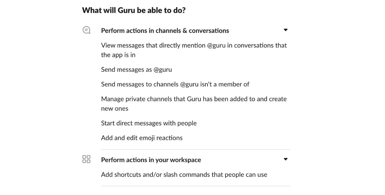 Guru  Slack Permissions