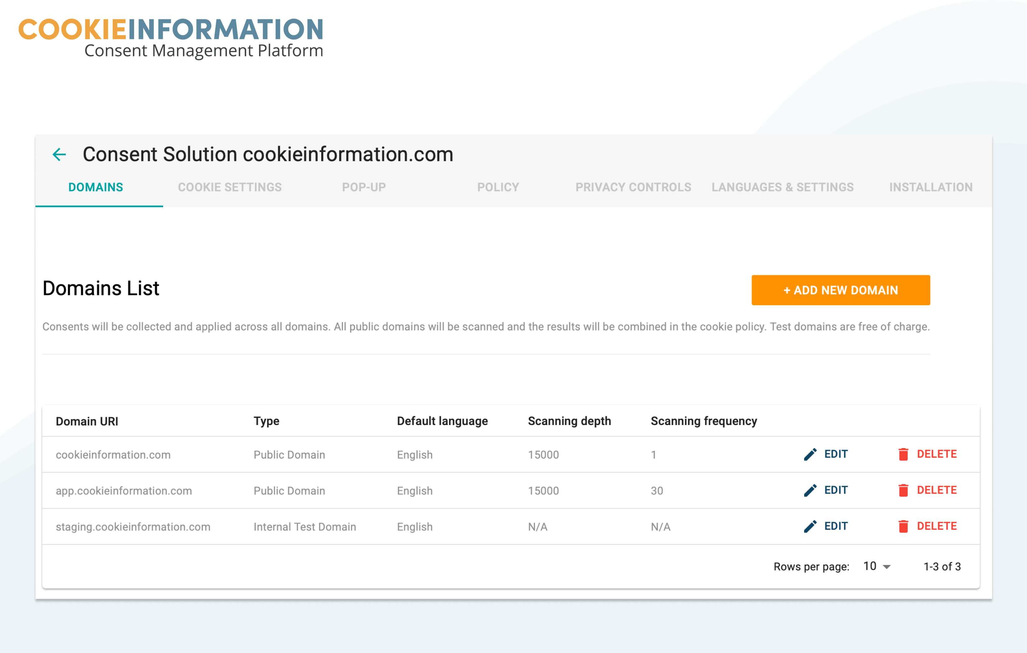 Managing domains overview in Cookie Information Platform