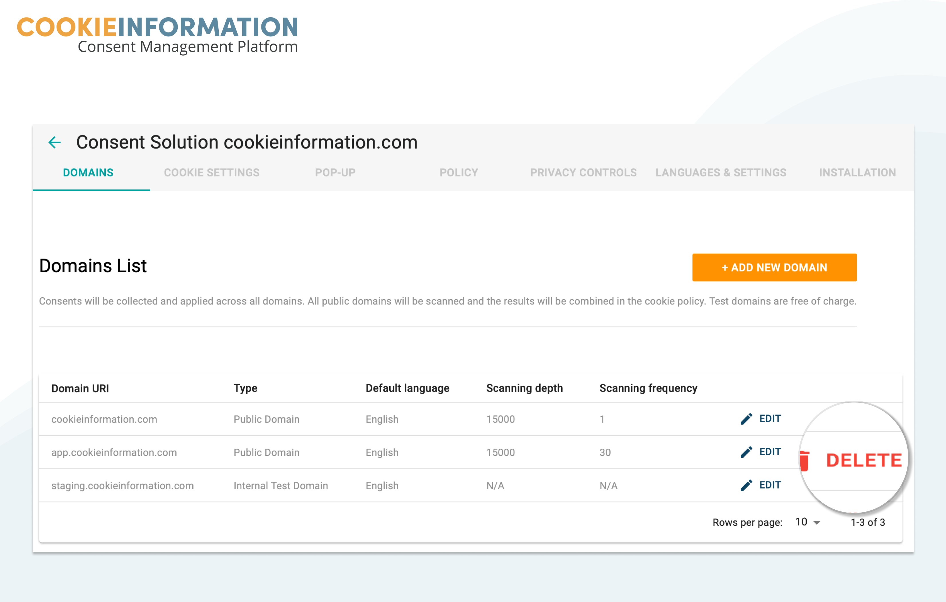 Deleting a domain in Cookie Information Platform