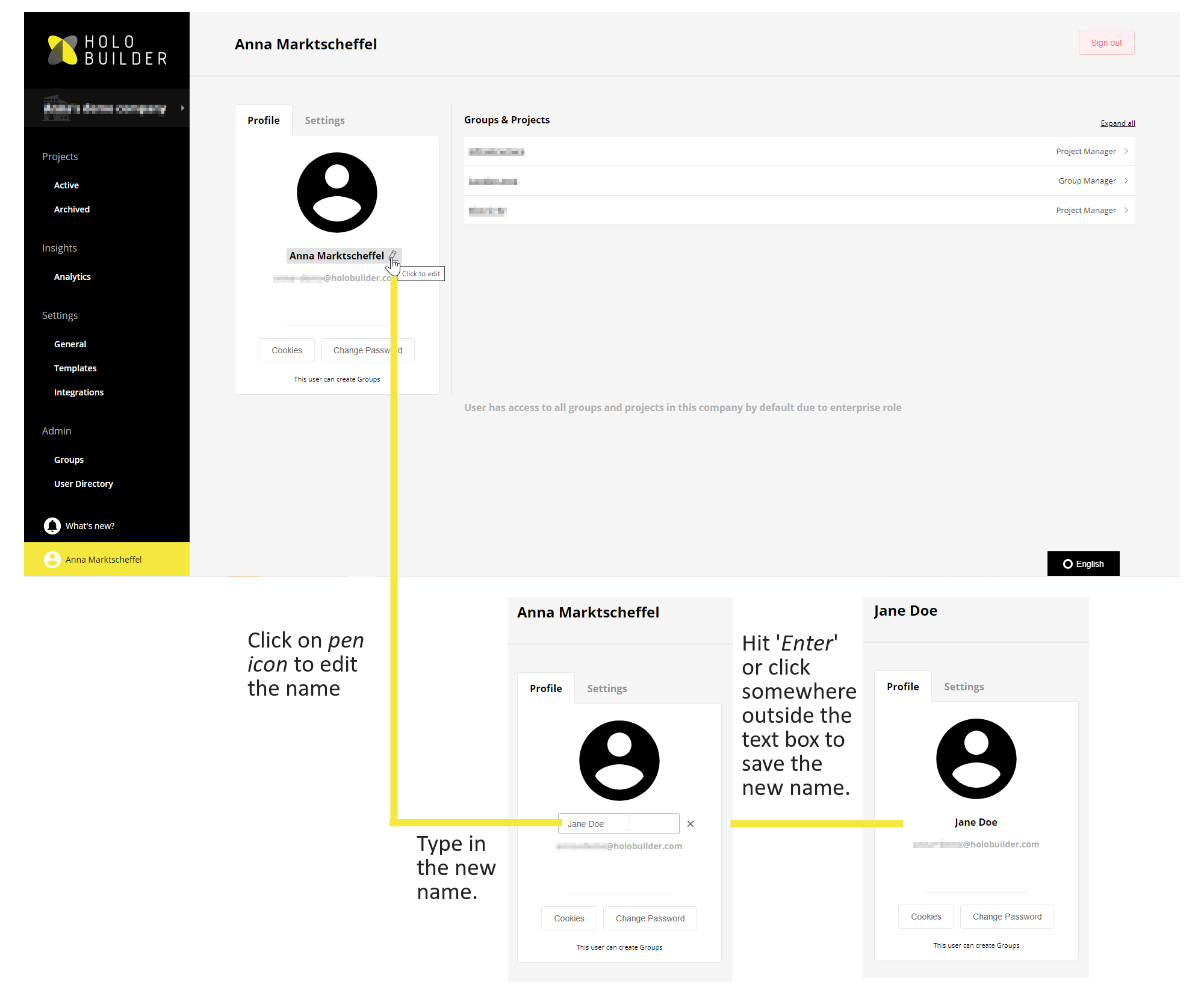 How to adjust the user name on your HoloBuilder account in the company dashboard