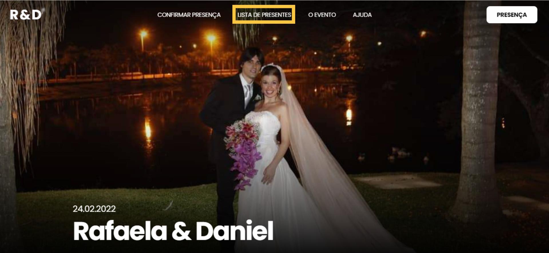 Na seguinte imagem mostramos como encontrar a Lista de Casamento de um casal dentro do Site de Casamento deles.