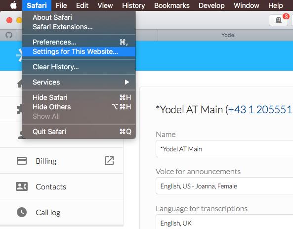 Safari Settings for manage.yodel.io