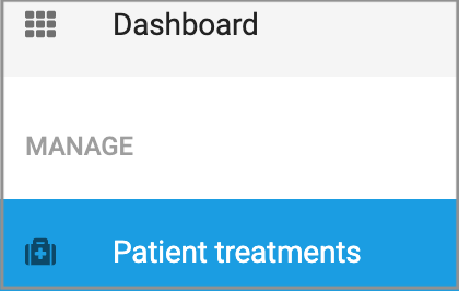Dentally Patient Portal Dashboard showing Patient Treatment option