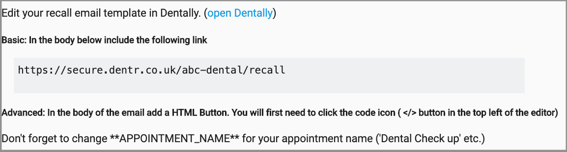 Dentally Patient Portal recall email link