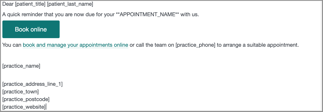 Dentally Patient Portal email that the patient sees