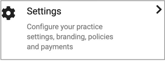 Dentally Patient Portal Settings menu