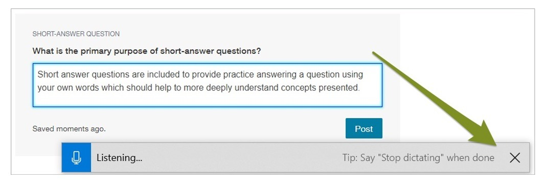 Short-answer question with an arrow pointing to the X on the Speech Recognition tool.