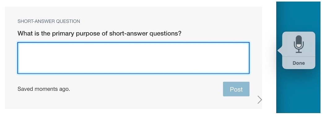 Short-answer question with the Dictation tool showing.