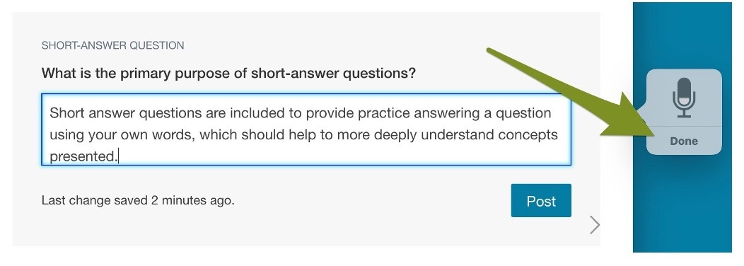 Short-answer question with an arrow pointing to Done on the Dictation tool.