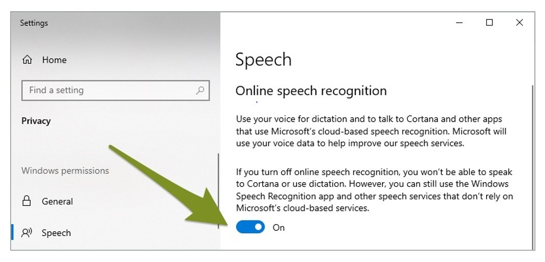 An arrow pointing to the toggle under Online Speech Recognition.