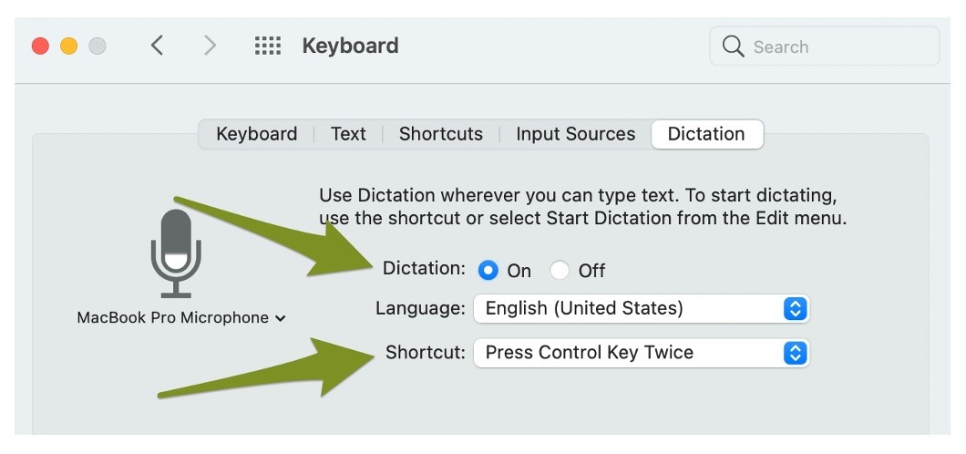 An arrow pointing to the Dictation toggle in macOS and to the Shortcut dropdown.