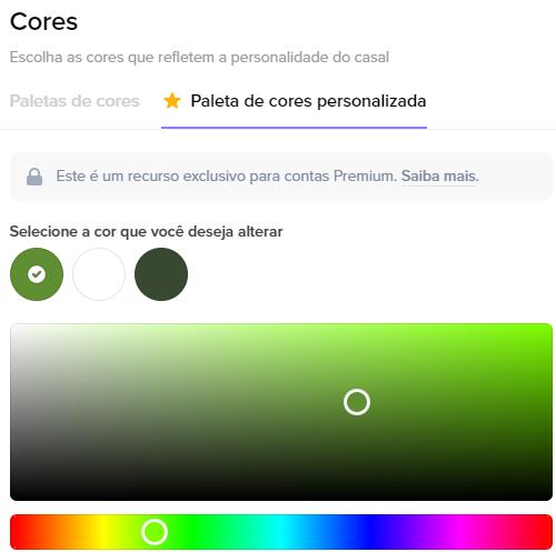 Na seguinte imagem mostramos como escolher a paleta de cores personalizada do seu Site de Casamento na Wedy.