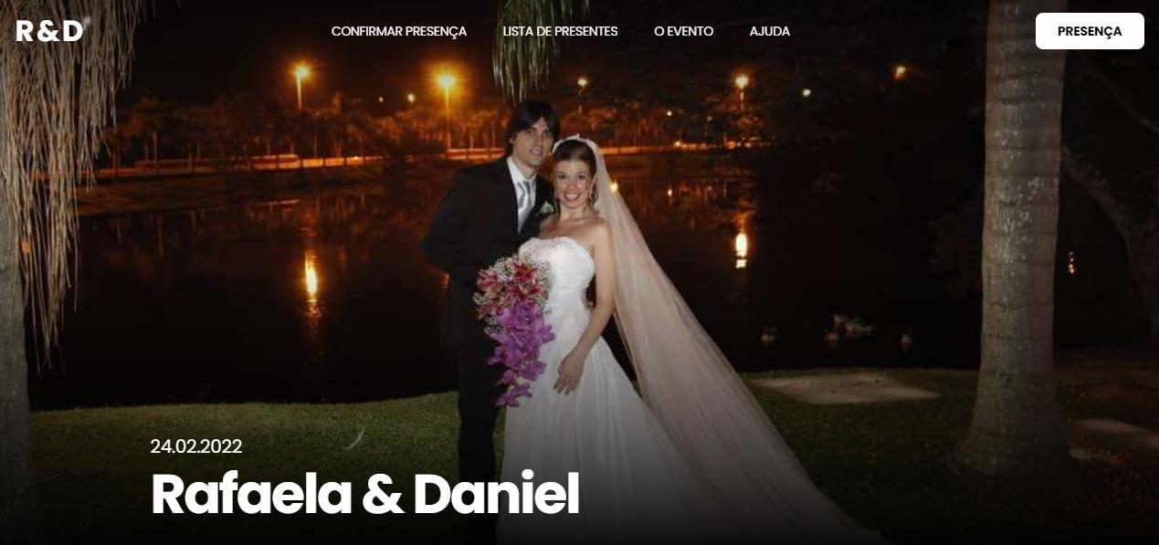 Na seguinte imagem mostramos como a visualização dos nomes ficam em seu Site de Casamento da Wedy